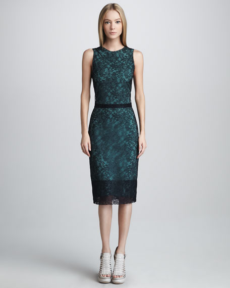 Chantilly Lace Shift Dress, Navy