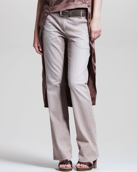 Garment-Washed Boot-Cut Jeans