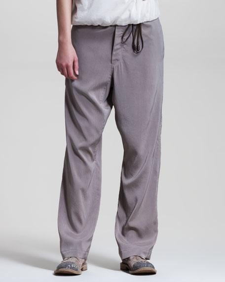Wide-Leg Drawstring Pants