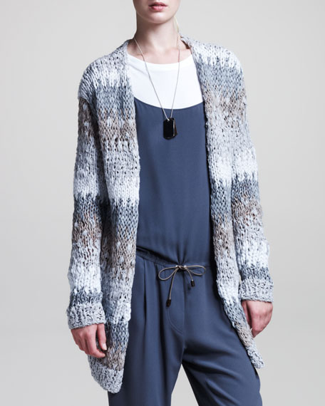 Stripe-Knit Cardigan