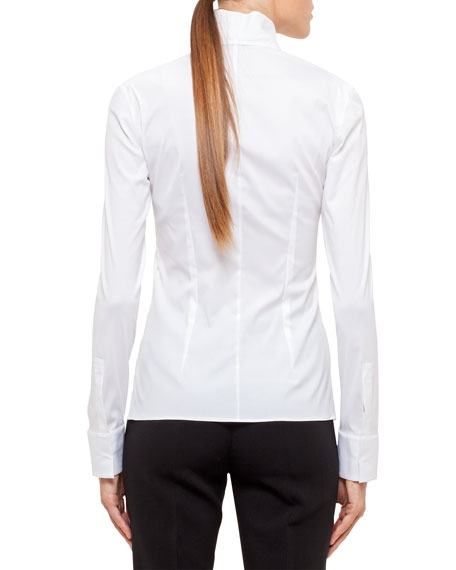 Long-Sleeve Notched-Collar Poplin Blouse