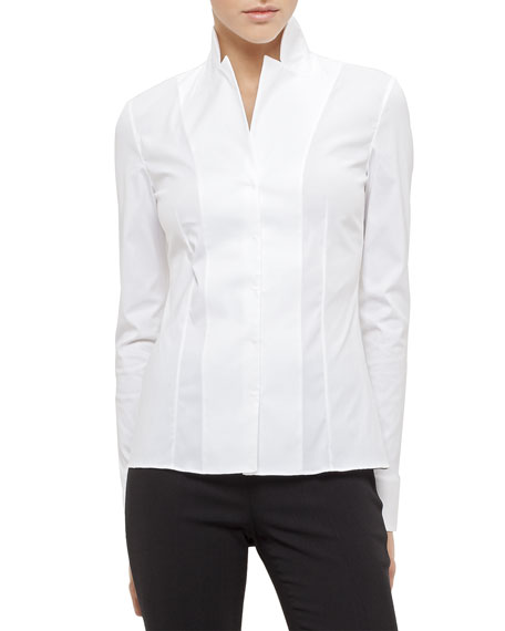 Short Evening Jacket, Long-Sleeve Notched-Collar Poplin Blouse &