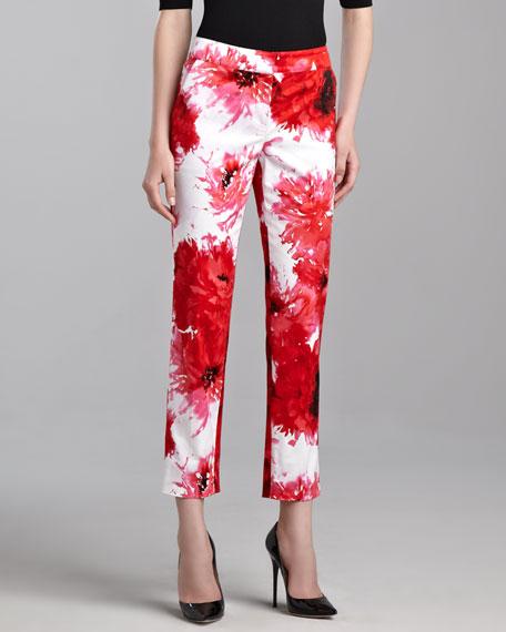 Chrysanthemum-Print Pants