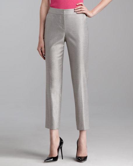 Emma Melange Twill Crop Pants, Limestone
