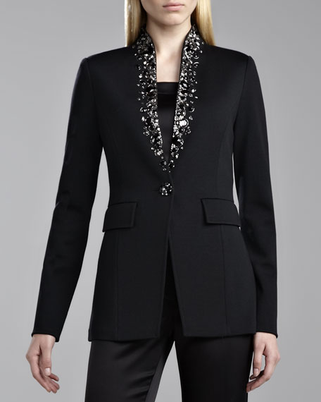 Milano Knit Stand Collar Jacket, Caviar