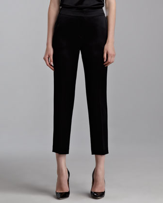 Emma Liquid Satin Crop Pants, Caviar
