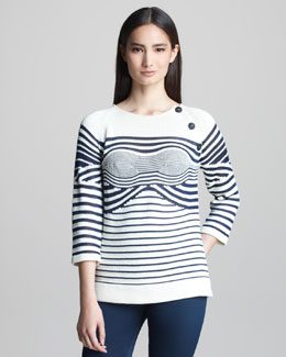 Jean Paul Gaultier Mixed-Stripe Sweater