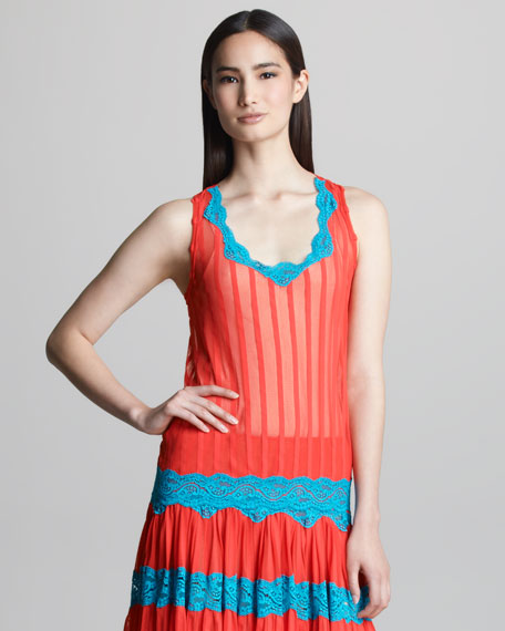 Striped Lace-Trim Tank