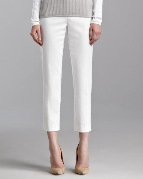 Emma Weave Cropped Pants, Bright White