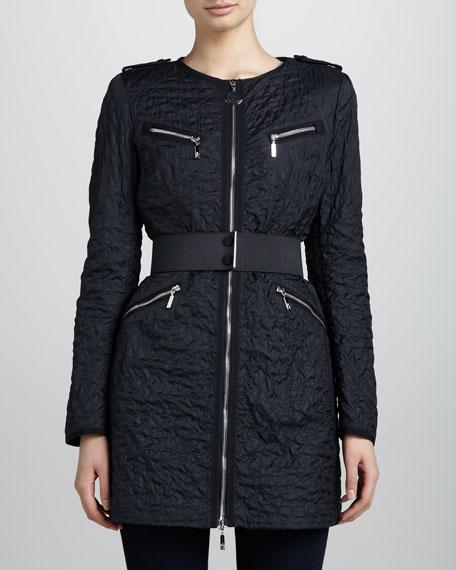 Quilted Elastic-Belt Jacket