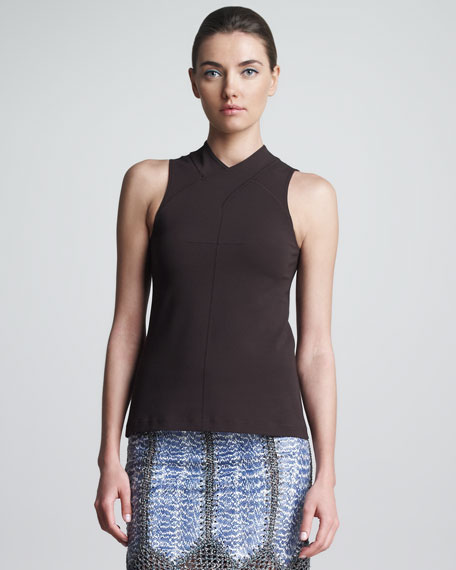 Sleeveless Scuba Knit Top, Cocoa
