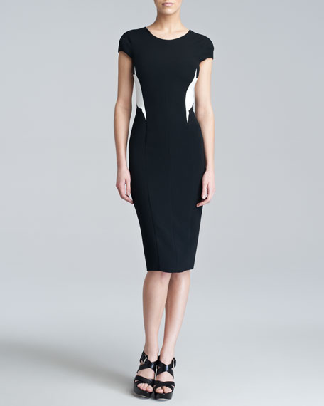 Colorblock Stretch-Crepe Dress