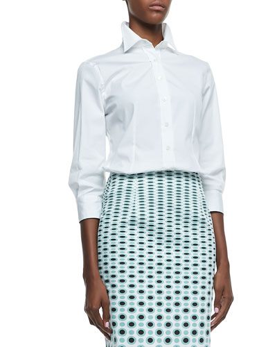 Carolina Herrera Basic Button-Front Shirt, White