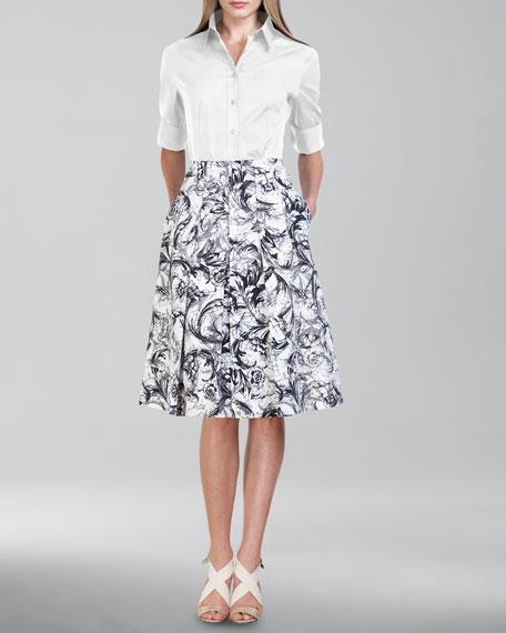 Baroque-Print A-Line Skirt