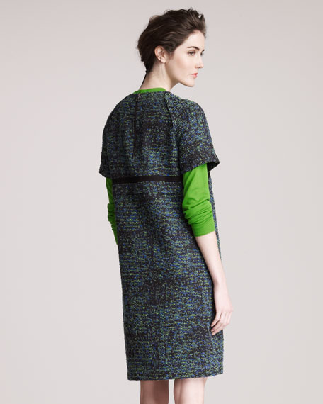 Tweed Raglan-Sleeve Dress