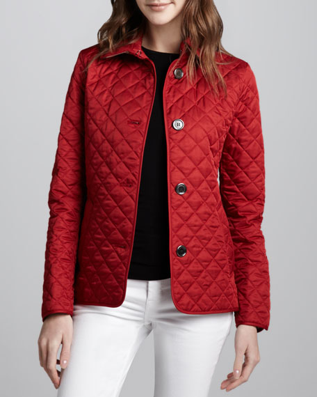 Copford Quilted Button Jacket, Red