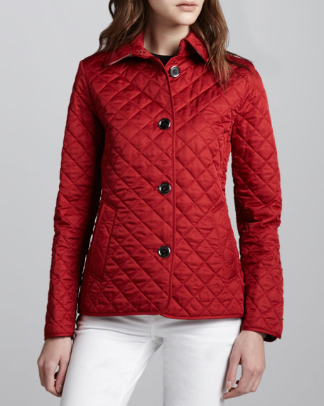 Burberry Brit Copford Quilted Button Jacket, Red