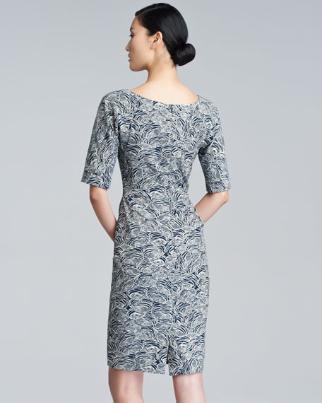 Rose-Print Stretch-Cotton Dress