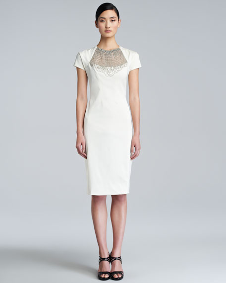Embroidered Chain-Neck Dress