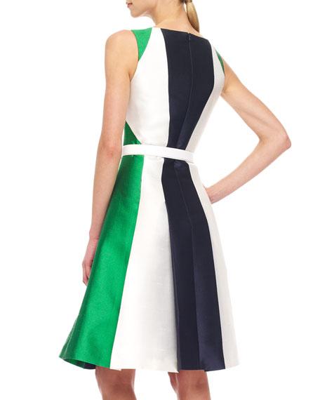 Colorblock Shantung Dress