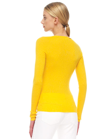 Cashmere Button-Shoulder Top