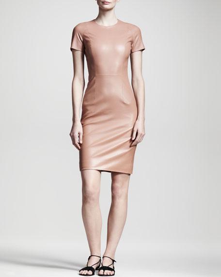 Shiny Leather Dress, Mauve