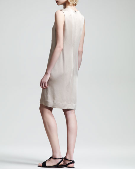 Crepe-Back Satin Dress, Truffle