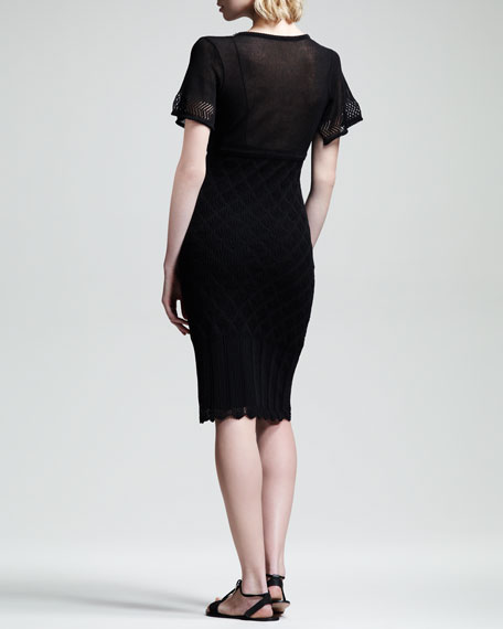 Lace-Trim Short-Sleeve Dress