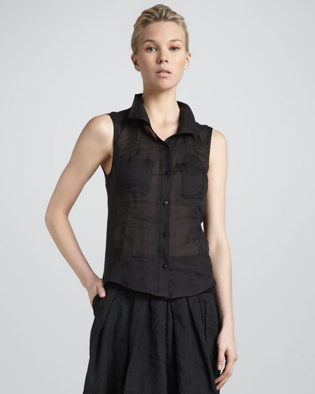 Sleeveless Open-Back Blouse, Black