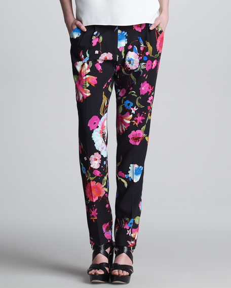 Pleated Floral-Print Pants