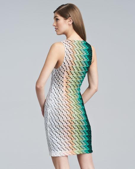 Degrade Knit Sleeveless Sheath Dress
