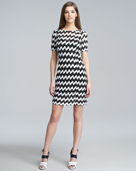 Chevron Stitched Short-Sleeve Dress, Black/White
