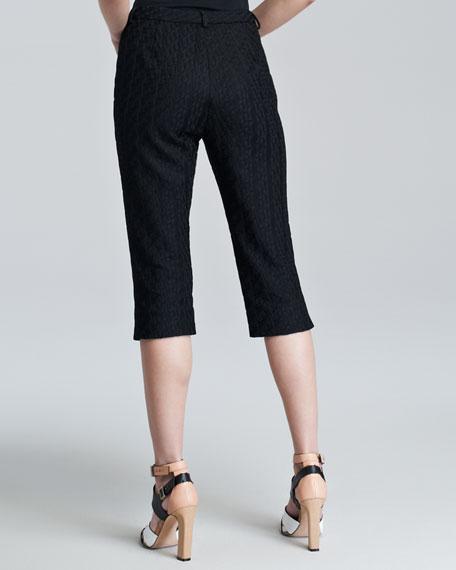 Topstitched Crop Pants, Black