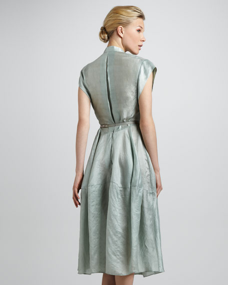 Sea Glass Belted Silk Dress