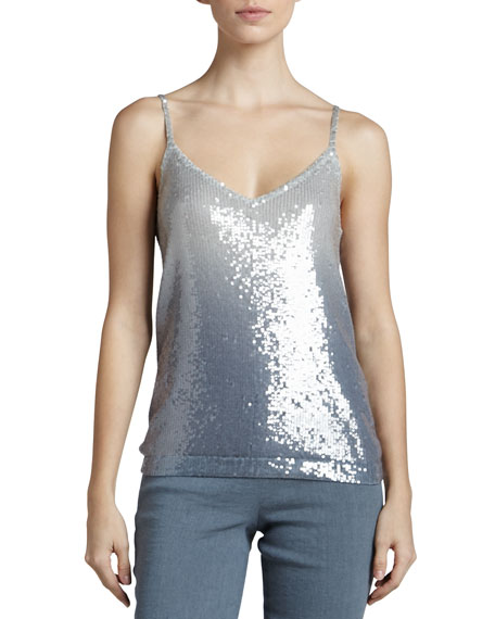 Sequined Ombre Cashmere Tank, Tempest