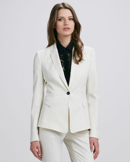 One-Button Blazer, White