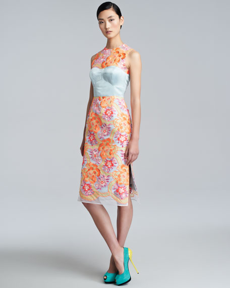 Floral-Embroidered Sheath Dress, Neon Peach/Blue