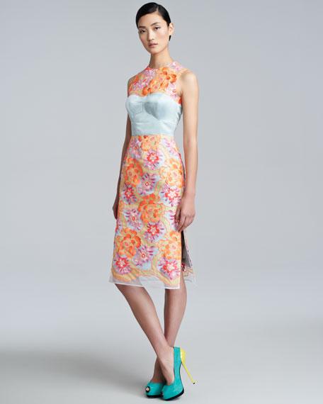Floral-Embroidered Sheath Dress, Neon Peach/Blue