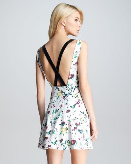Asymmetric-Placket Floral Dress