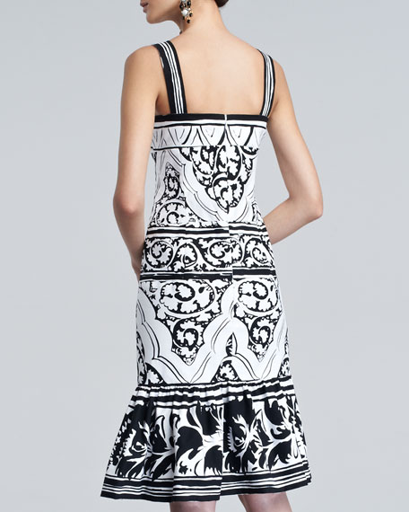 Sketched Baroque-Print Twill Dress