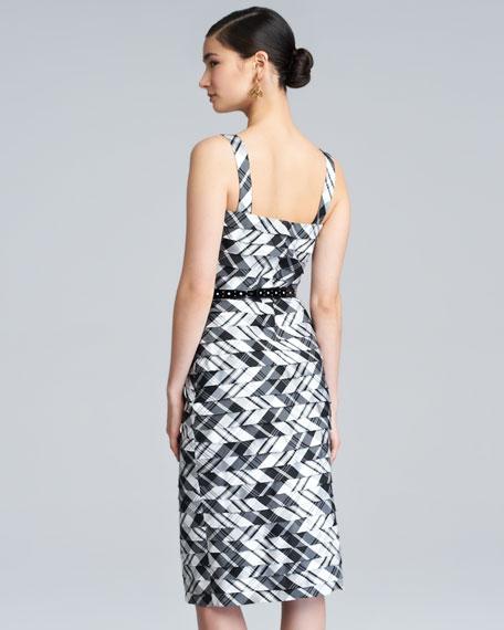Plaid Taffeta Shantung Dress, Black/White