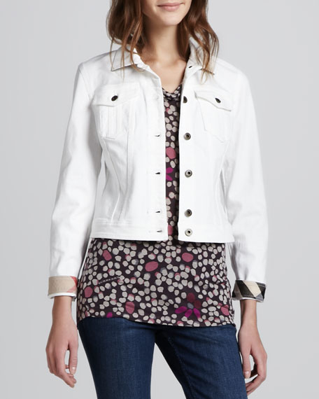 Check-Cuff Cropped Denim Jacket
