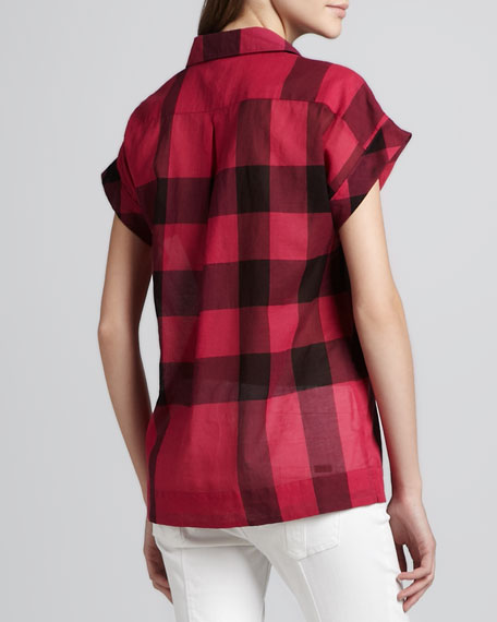 Collared Check Short-Sleeve Blouse, Fuchsia