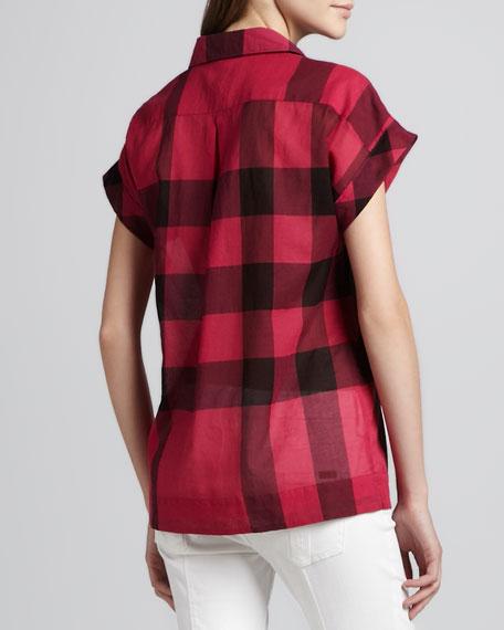 Collared Check Short-Sleeve Blouse, Fuchsia