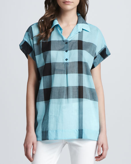 Check Short-Sleeve Shirt, Opal