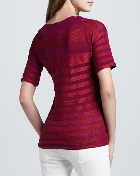 Short-Sleeve Texture-Striped Tee