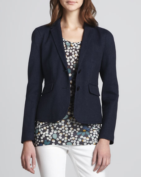 Linen-Cotton Two-Button Blazer