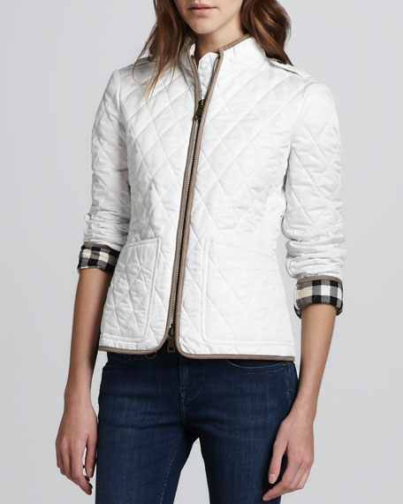 Check-Cuff Quilted Jacket
