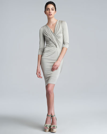 Three-Quarter-Sleeve V-Neck Draped Dress, Hemp