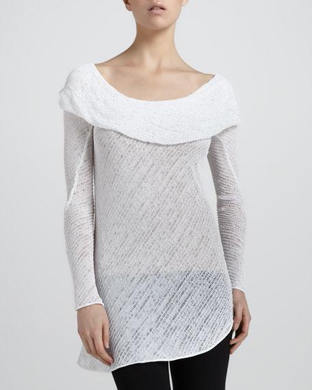 Shawl-Draped Knit Tunic, Zinc